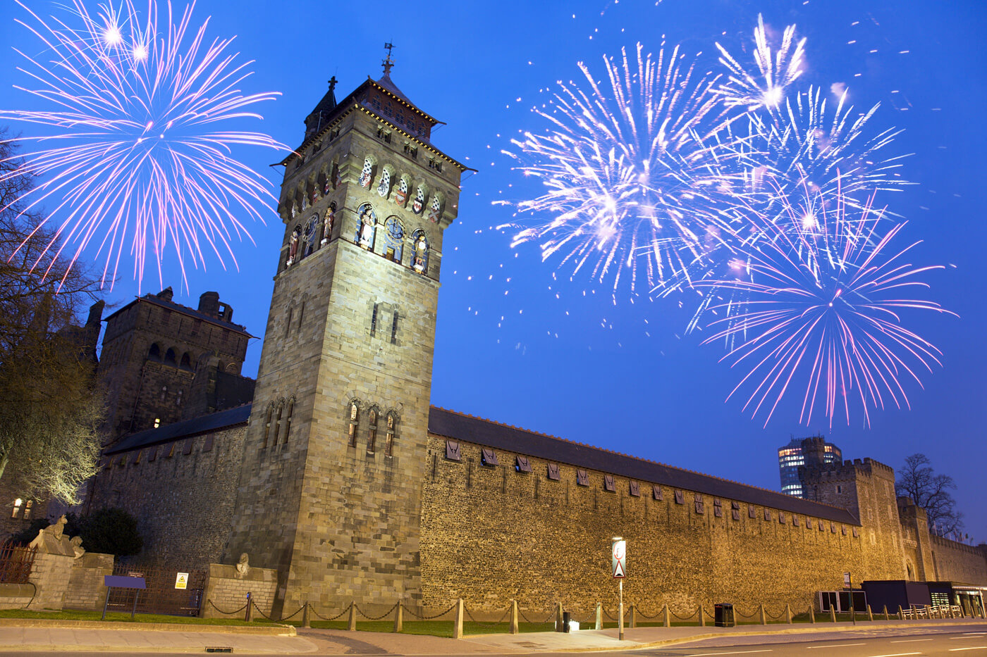 Street View of Cardiff Castle at night with Fireworks